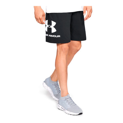 UNDER ARMOUR - UA COTTON BIG LOGO SHORTS-BLK Homme Black/White