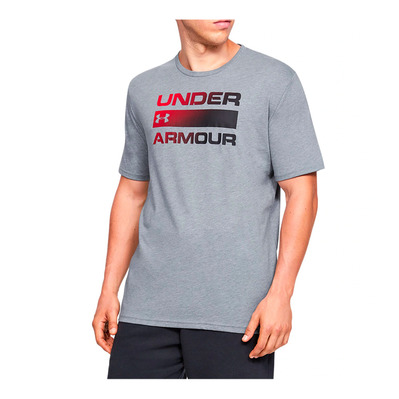 UNDER ARMOUR - UA TEAM ISSUE WORDMARK SS-GRY Homme Steel Light Heather/Black