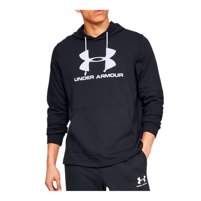 UNDER ARMOUR - SPORTSTYLE TERRY LOGO HOODIE-BLK Homme Black/White