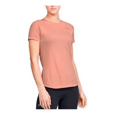 UNDER ARMOUR - W UA Qualifier ISO-CHILL Short Sleeve-PN Femme Calla/Peach Frost/Reflective