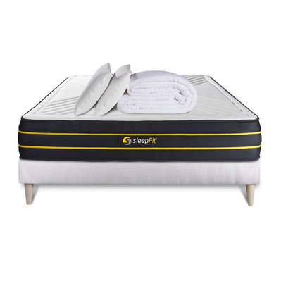ULTRA 160x200cm - Matelas + sommier blanc + couette + oreillers