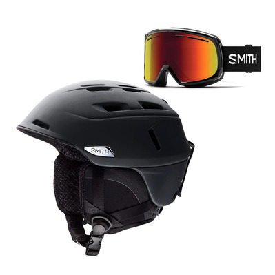 CAMBER - Casque ski matte black + Masque ski black/red sol X