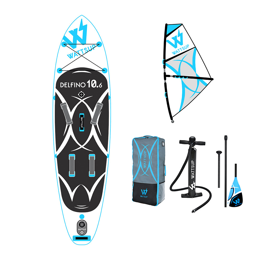 Stand Up Paddle Gonflable Wattsup Delfino 10 6 Wind Stand Up Paddle Gonflable White Blue Voile Accessoires Private Sport Shop