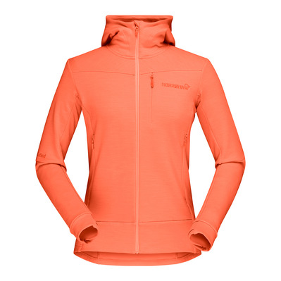 NORRONA - FALKETIND WARMWOOL2 STRETCH ZIP HOOD - Sweat Femme flamingo