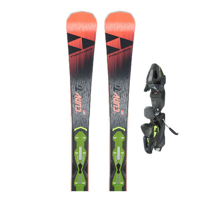 RC4 THE CURV TI ALLRIDE - Skis piste + Fixations RC4 Z11 GW POWERRAIL B78 solid black/racing blue/yellow