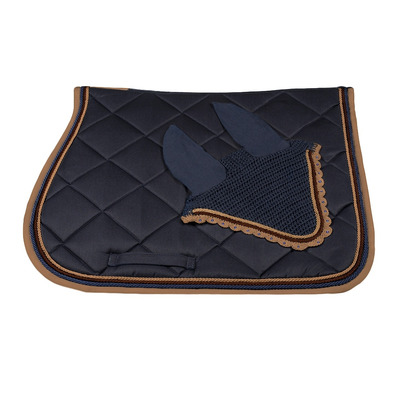 Wagner SADDLEPAD SET - Tapis mixte + bonnet blue/caramel/brown