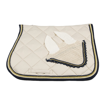 Wagner SADDLEPAD SET - Tapis mixte + bonnet bg/gold/darkblue