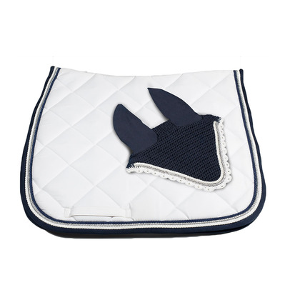Wagner SADDLEPAD SET - Tapis de dressage + bonnet white/silver/blue