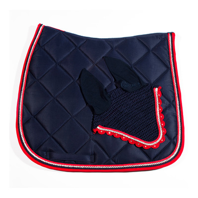 Wagner SADDLEPAD SET - Tapis de dressage + bonnet dark blue/red/silver
