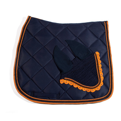 Wagner SADDLEPAD SET - Tapis de dressage + bonnet dark blue/caramel