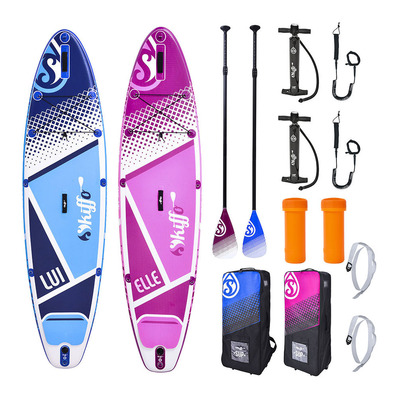 SKIFFO - ELLE & LUI 10' & 10'6 - Inflatable SUP Boards x2 blue/pink + Accessories