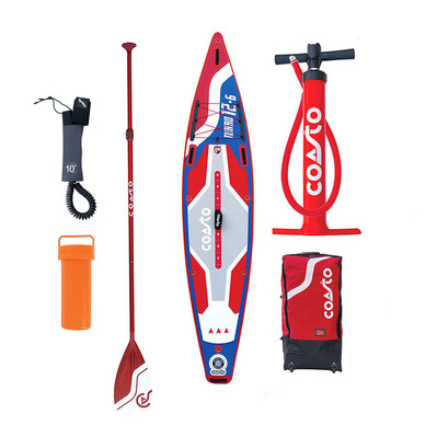 COASTO - TURBO 12'6 - Inflatable SUP Board - blue/red + Accessories