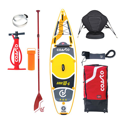 COASTO - ARGO 10'6 - Inflatable SUP Board - grey/yellow + Kayak Seat + Accessories