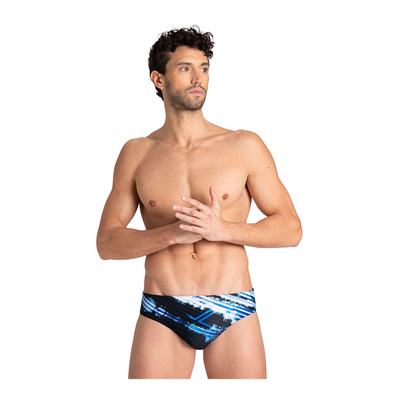 ARENA - M INFINITE STRIPE BRIEF Homme BLACK-NEON BLUE MULTI