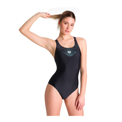 ARENA - MIRRORED V BACK - Costume da bagno intero Donna black/black