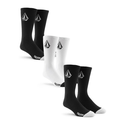 VOLCOM - FULL STONE SOCK 3PK Homme BLACK WHITE