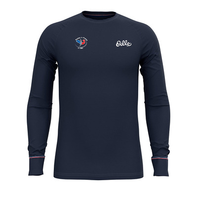 ODLO - BL TOP Crew neck l/s ACTIVE WARM ORIGINA Homme diving navy - placed print FW19
