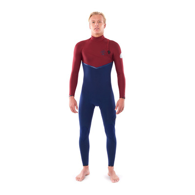 RIP CURL - E-BOMB FREE ZIP - Muta integrale 3/2mm Uomo navy/red