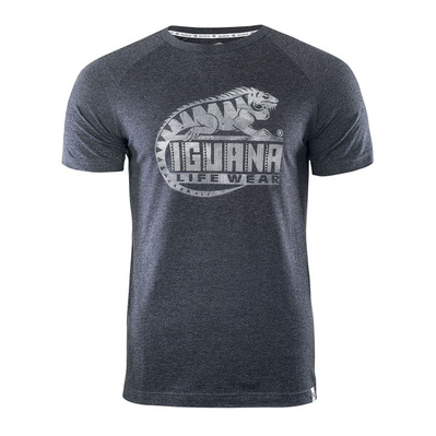 IGUANA - BAAKO - T-Shirt - Men's - dark grey marl/logo print