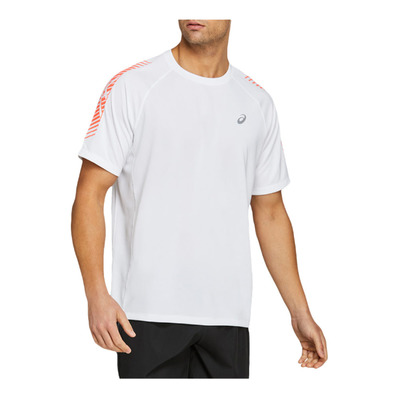 ASICS - ICON - Maglia Uomo brilliant white/flash coral