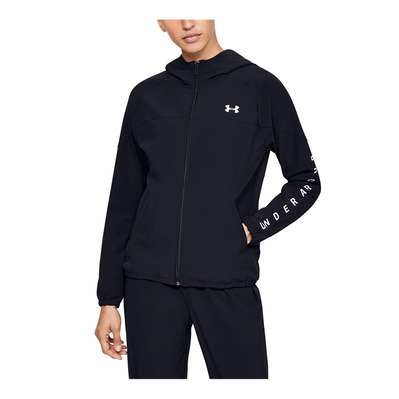 UNDER ARMOUR - Woven Hooded Jacket-BLK Femme Black/Onyx White/Onyx White