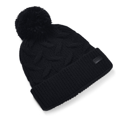 UNDER ARMOUR - UA Around Town Pom Beanie-BLK Femme Black/Black/Black
