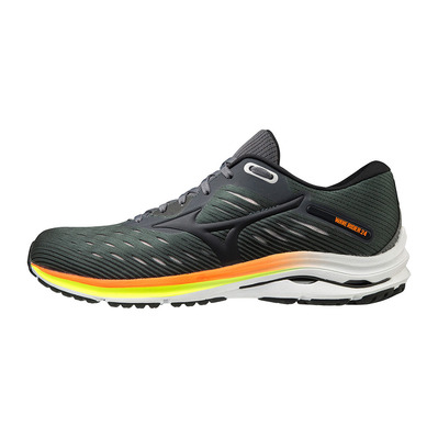 MIZUNO - WAVE RIDER 24 - Running Shoes - Men's - rock/phanton/orange
