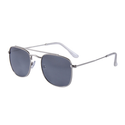 FLUOR - AVIATOR DOUBLE BRIDGE - Gafas de sol polarizadas silver/grey smoke