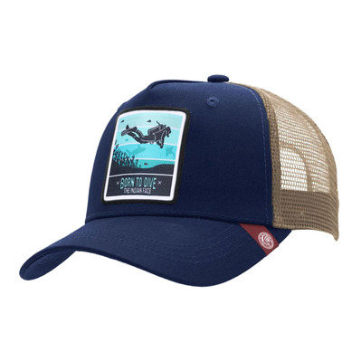 THE INDIAN FACE - BORN TO SCUBA DIVE - Gorra blue/brown