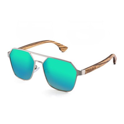 FELER - DOUBLE AVIATOR - Polarised Sunglasses - silver/green