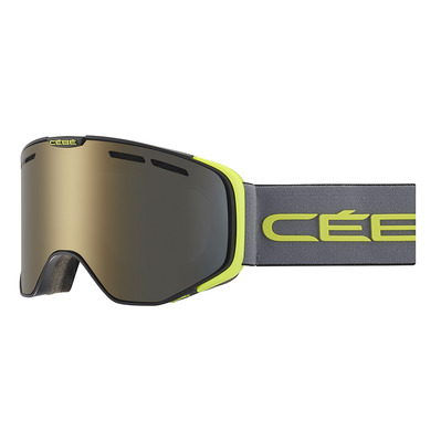 CEBE - VERSUS - Masque ski matt black/grey/lime/dark smoke flash gold
