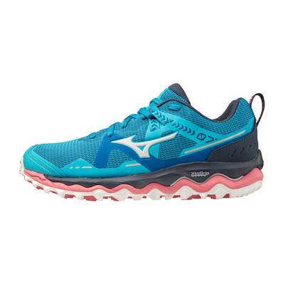 MIZUNO - WAVE MUJIN 7 - Trail Shoes - Women's - scuba blue/snow white/mykonos blue