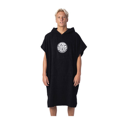 RIP CURL - WET AS HOODED TOWEL - Poncho/toalla con capucha hombre black