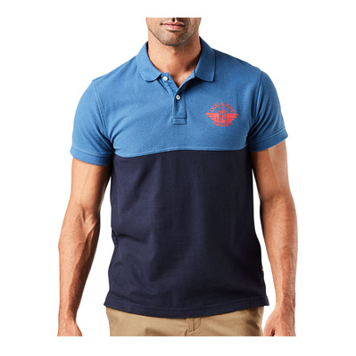 DOCKERS - ALPHA 1986 - Polo hombre chest blue collar/red