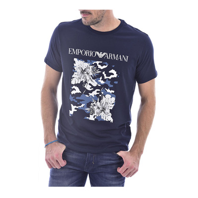 EMPORIO ARMANI - 211818 0P468 - Tee-shirt Homme blue/stampa ibiscus